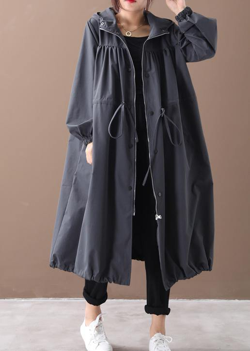 DIY hooded drawstring Fine clothes black silhouette outwears