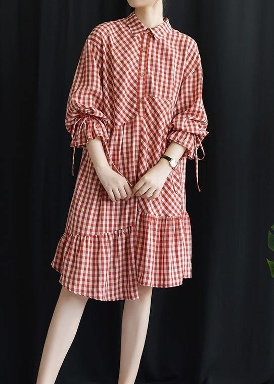 DIY lapel asymmetric Cotton dresses Fashion Ideas red Plaid Dress fall