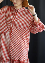 Load image into Gallery viewer, DIY lapel asymmetric Cotton dresses Fashion Ideas red Plaid Dress fall