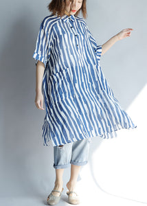 DIY lapel pockets Cotton Tunic Fitted Sleeve blue striped A Line Dresses summer