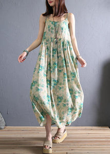 DIY light green print cotton dress Spaghetti Strap Robe summer Dresses