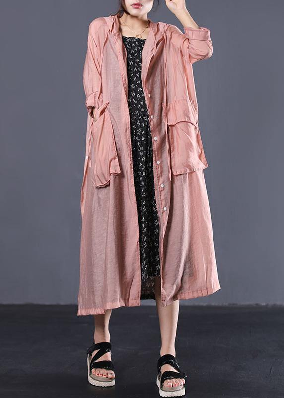 DIY light orange cotton clothes Women side open Maxi summer coats