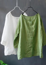 Load image into Gallery viewer, DIY linen green tunic top boutique Solid Color Single Breasted Reversible Blouse