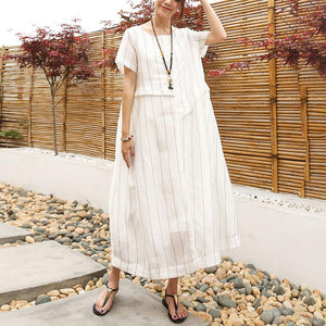 DIY linen quilting dresses Casual Linen Cotton Women Short Sleeve Stripe White Dress