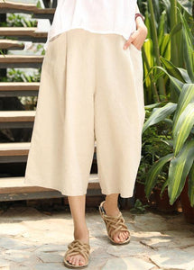 DIY nude cotton linen pants For Women elastic waist wide leg pants