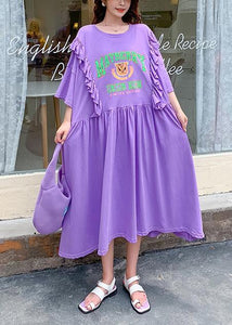 DIY o neck Ruffles clothes Outfits purple Cartoon print long Dress