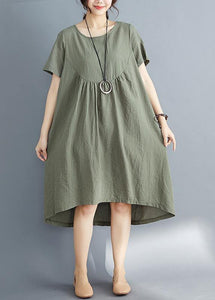 DIY o neck asymmetric Cotton clothes Women plus size Catwalk army green striped Midi Dress Summer