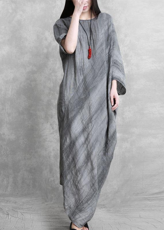 DIY o neck asymmetric dresses Tunic Tops gray Maxi Dresses