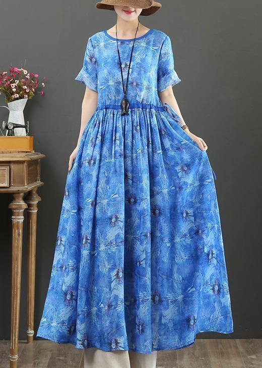 DIY o neck drawstring linen summer Robes Shape blue print Dresses