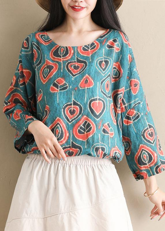DIY o neck half sleeve tops women blouses Outfits blue print shirts