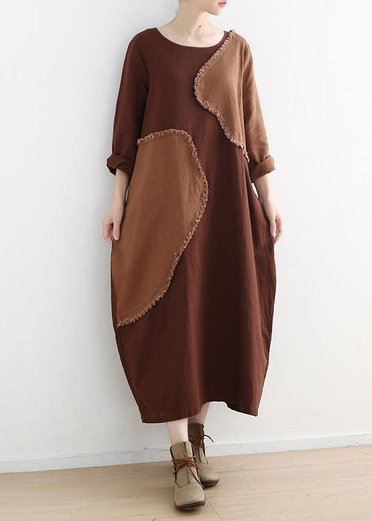 DIY o neck patchwork linen clothes For Women pattern chocolate Dresses fall
