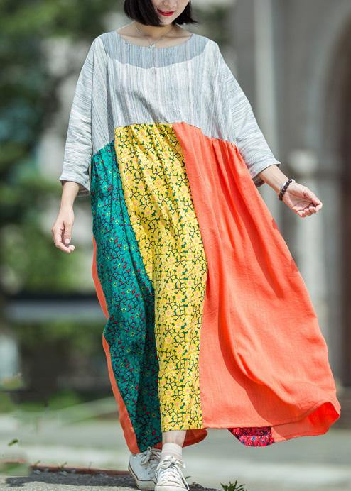 DIY o neck patchwork linen outfit Runway multicolor Dress summer