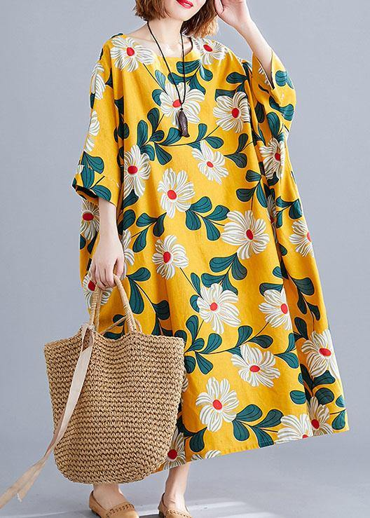 DIY o neck pockets linen cotton dress Tunic Tops yellow print Dresses