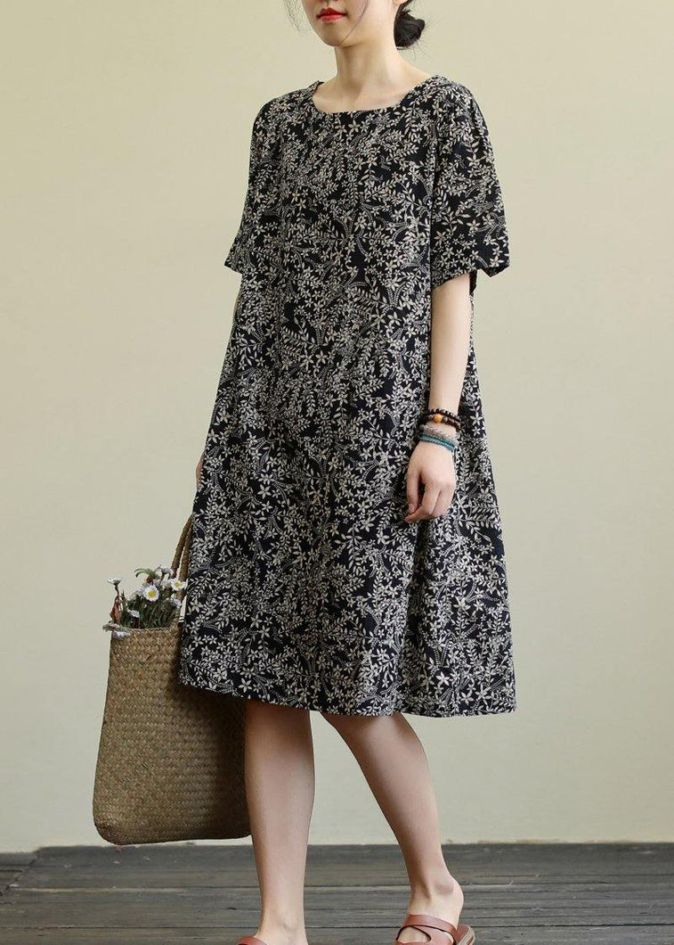DIY o neck pockets linen summer dress pattern black print Dresses