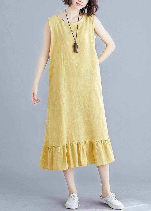 b52629b7f2ed9 DIY o neck sleeveless linen clothes For Women Inspiration yellow Dresses  summer