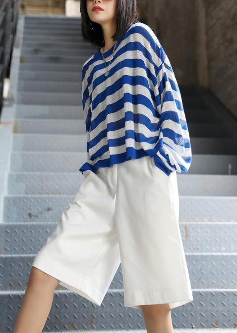 DIY o neck summer shirts Neckline blue striped top