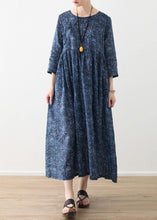 Load image into Gallery viewer, DIY o neck wrinkled linen clothes For Women blue print Dress