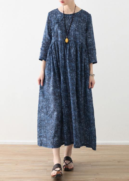 DIY o neck wrinkled linen clothes For Women blue print Dress