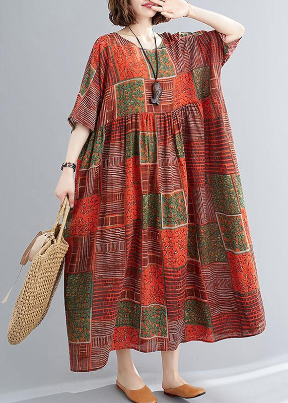 DIY orange red print cotton linen clothes o neck exra large hem cotton robes Dresses