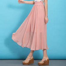 Load image into Gallery viewer, DIY pink elastic waist chiffon clothes big hem Traveling summer Dresses