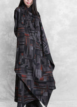 Load image into Gallery viewer, DIY print cotton tunic top asymmetric pockets Plus Size Dress