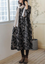 Load image into Gallery viewer, DIY print linen cotton outfit stand collar wrinkled cotton fall Dress