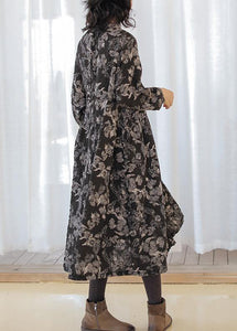 DIY print linen cotton outfit stand collar wrinkled cotton fall Dress