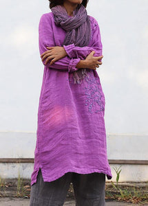 DIY purple linen Robes embroidery linen robes o neck Dresses