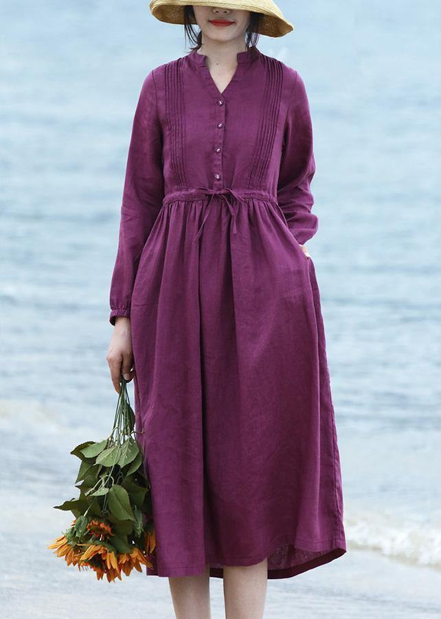 DIY purple linen dresses long sleeve Vestidos De Lino v neck Dresses