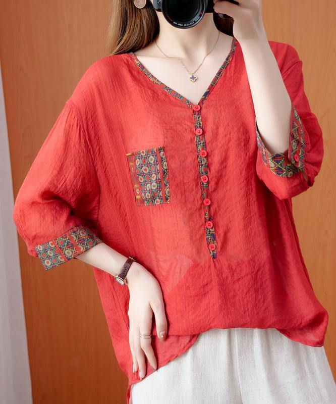 DIY red clothes For Women v neck patchwork oversized fall shirts