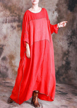 Load image into Gallery viewer, DIY red linen dresses patchwork loose fall Dresses