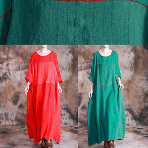 DIY red linen dresses patchwork loose fall Dresses