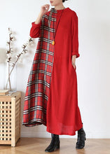 Load image into Gallery viewer, DIY red plaid clothes For Women high neck patchwork long fall Dresses