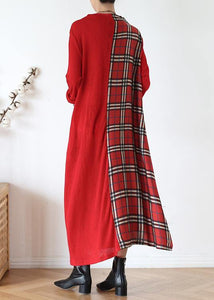 DIY red plaid clothes For Women high neck patchwork long fall Dresses