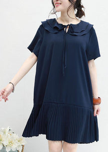 DIY ruffles Chiffon Tunics navy o neck daily summer Dresses