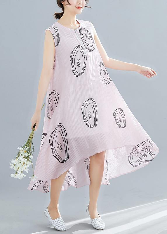 DIY sleeveless low high design linen Tunics Work Outfits pink print Dresses summer