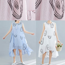 Load image into Gallery viewer, DIY sleeveless low high design linen Tunics Work Outfits pink print Dresses summer