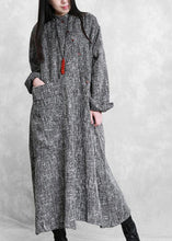Load image into Gallery viewer, DIY stand collar asymmetric linen dresses pattern gray Plaid Dress
