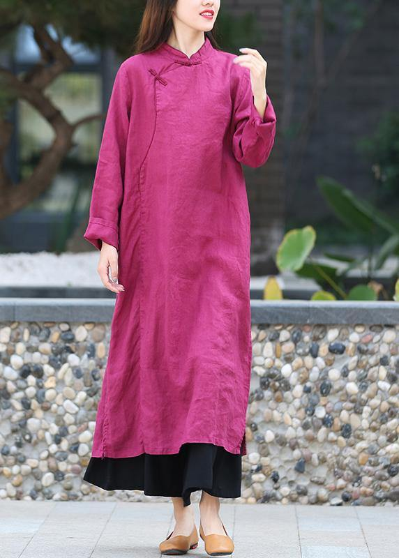 DIY stand collar side open Tunics Work purple Maxi Dress