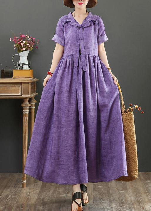 DIY v neck Bow cotton summer quilting clothes Photography purple Dress