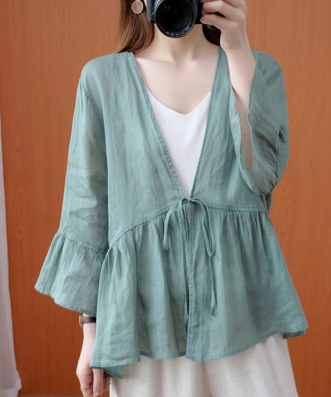 DIY v neck Ruffles summer clothes For Women Shape green blouse
