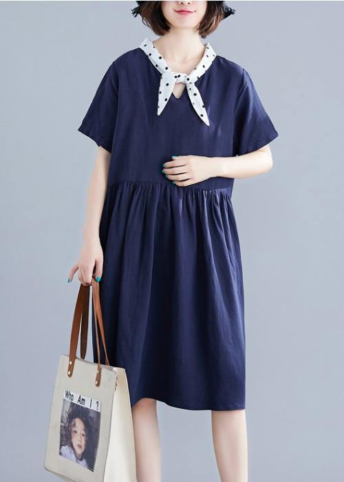 DIY v neck Cinched Cotton Long Shirts Photography navy Dresses
