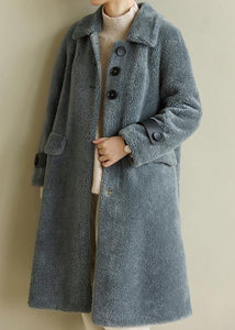 DIY warm Plus Size lapel collar tunic coat gray blue Midi outwears