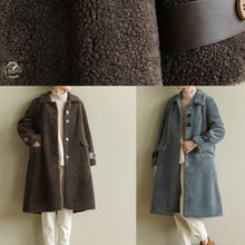 Load image into Gallery viewer, DIY warm Plus Size lapel collar tunic coat gray blue Midi outwears