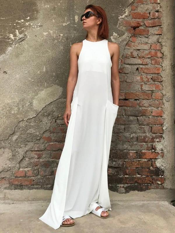DIY white cotton clothes Women o neck slim A Line Dress
