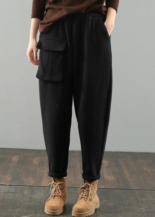 DIY women's black Gifts pockets harem pants