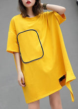 Load image into Gallery viewer, DIY yellow cotton clothes For Women o neck Midi summer blouses