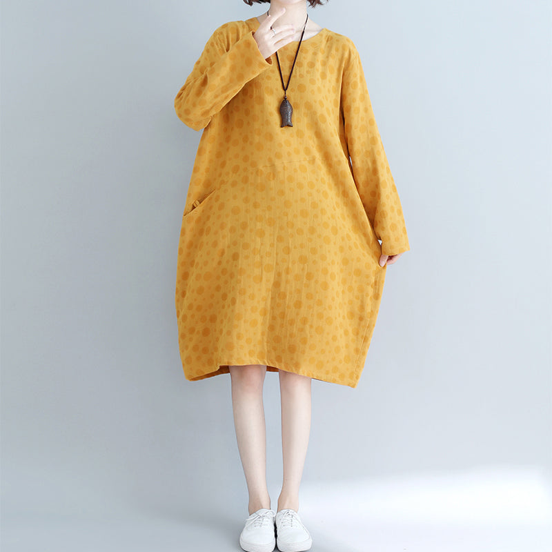 DIY yellow dotted Cotton tunic dress Casual Runway pockets cotton Dress