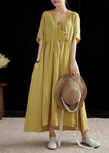 DIY yellow linen Robes v neck exra large hem cotton summer Dress