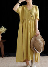 Load image into Gallery viewer, DIY yellow linen Robes v neck exra large hem cotton summer Dress